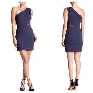 Halston Heritage One Shoulder Mesh Inset Dress